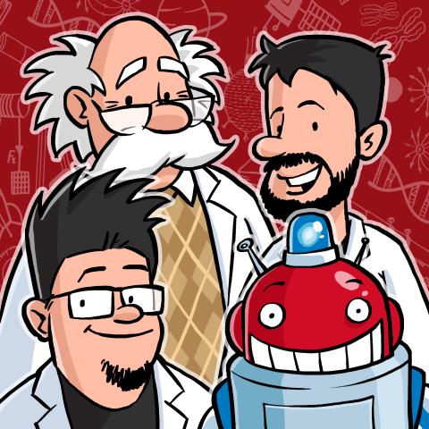 Drei Wissenschaftler als Comicfiguren mit einem Roboter