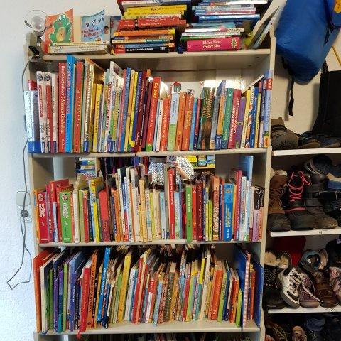 Zahlreiche Kinderbücher stehen in einem Regal zum Verkauf.