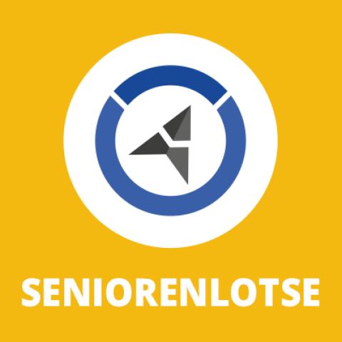 Logo des Seniorenlotse mit blau-grauem Richtungspfeil auf gelbem Hintergrund