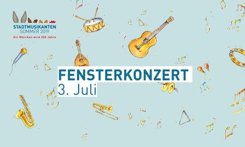 """Hellblauer Banner mit kleinen Illustrationen von Musikinstrumenten und Noten und dem Schriftzug """"Fensterkonzert 3. Juli"""""""