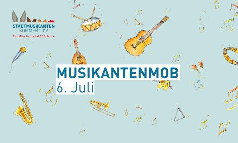 """Hellblauer Banner mit kleinen Illustrationen von Musikinstrumenten und Noten und dem Schriftzug """"Musikantenmob 6. Juli"""""""
