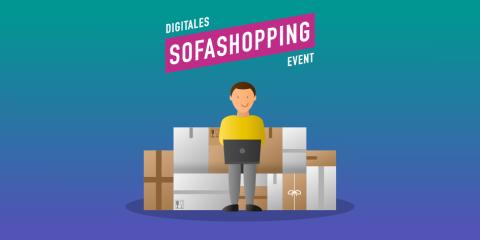 Grafik zur digitalen Veranstaltung Sofashopping, männliche Person sitzt auf einem Sofa aus Kisten mit einem Laptop auf dem Schoß