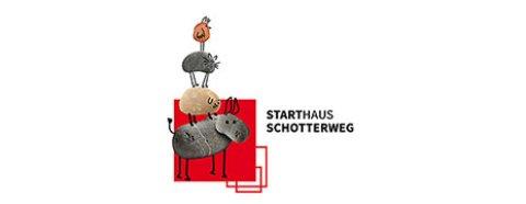 Das Logo zum Starthaus Schotterweg: Die Bremer Stadtmusikanten Esel, Hund, Katze und Hahn als Steinfiguren.
