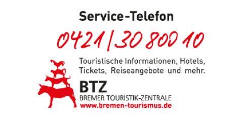 Eine Zeichnung der Stadtmusikanten mit den Kontaktdaten zur BTZ.