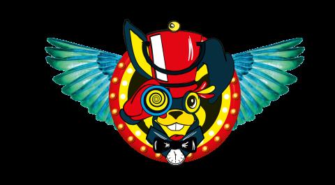 Das Logo des Tabularaaza Festivals. Ein gelb-blauer Hase mit rotem Hut und Fernglas. Er hat zwei blaue abstehende Flügel.