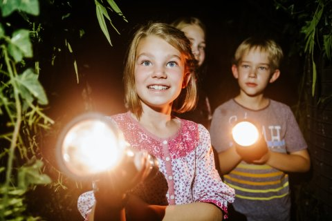 Ein Mädchen und ein Junge mit Taschenlampen, die leuchten