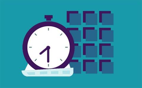 blaue Grafik leerer Stundenplan mit 12 Kästchen mit Stoppuhr daneben