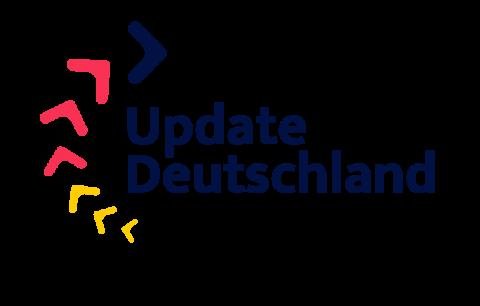 Ein Logo zur Aktion Update Deutschland mit unterbrochenem Kreis in den Farben Schwarz, Rot und Gold.
