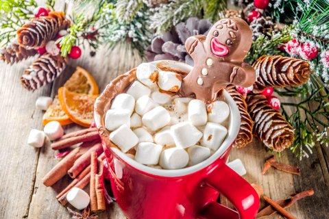 Eine rote Tasse mit Marshmallows und einem Schoko-Männchen. Drum herum liegt verschiedene Deko aus. Zum Beispiel Tannenzapfen, Zimtstangen oder getrocknete Orangen.