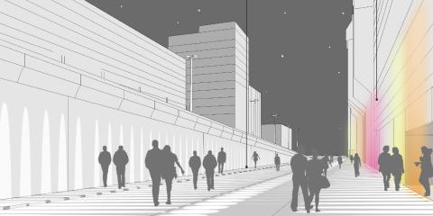 Darstellung einer bunten Beleuchtung als neues Konzept für die Discomeile