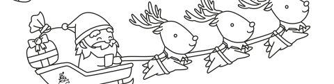 Ein Ausmalbild für Kinder mit einem Weihnachtsmann auf seinem Schlitten, der von 3 Rentieren durch die Luft gezogen wird. Drumherum einzelne kleine Geschenke und Tannenbäumchen.