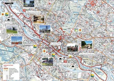 In eine Karte ist eine Route eingezeichnet