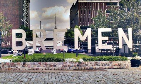 Ein großer Schriftzug zeigt das Wort Bremen; Quelle: WFB Wirtschaftsförderung Bremen - Abt. bremen.online - KBU