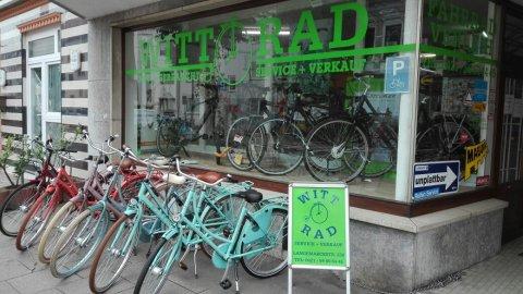 Eine Außenaufnahme des Fahrradgeschäfts