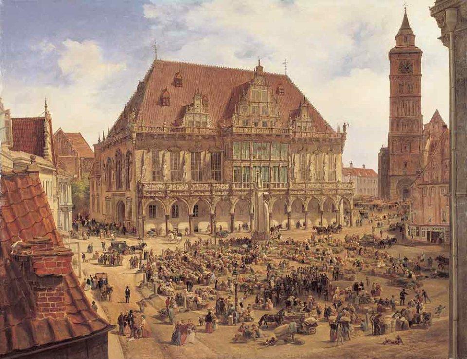 Ein Ölgemälde eines mit Menschen gefüllten Marktplatzes, der von großen Häusern umringt ist.