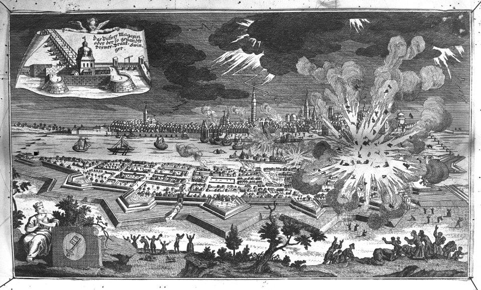 Historisches Gemälde zeigt Explosion des Brautturms in der Neustadt
