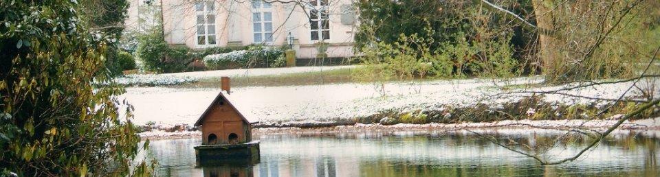 Das Herrenhaus der Familie von Büren im Hintergrund, im Vordergrund ein Ententeich