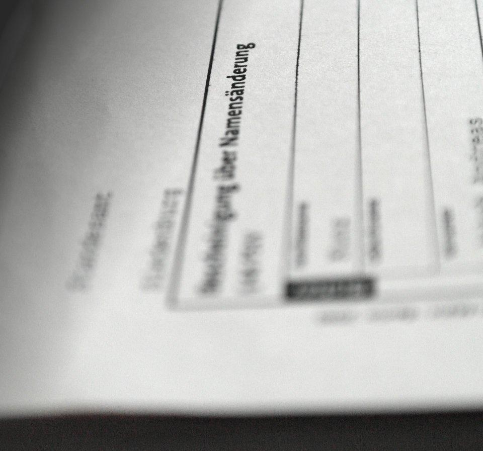 Dokument zur Namensänderung