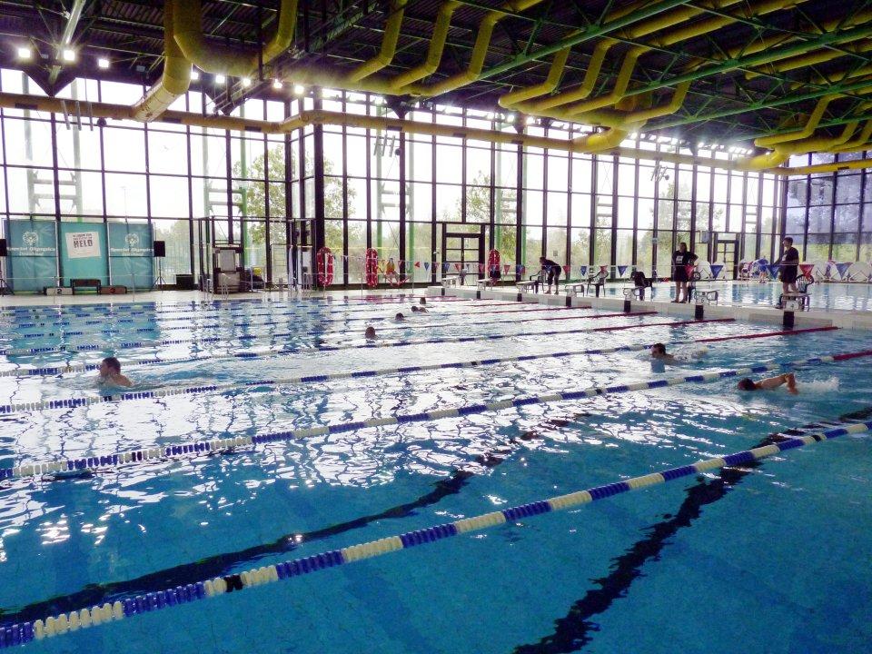 Schwimmer ziehen Bahnen im Unibad.