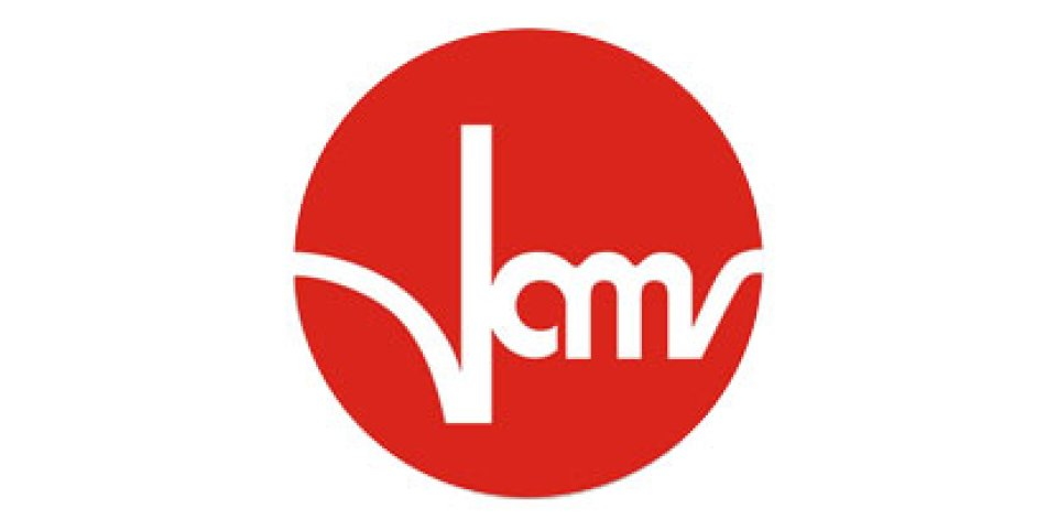 Weisser Schriftzug VAMV auf rotem Kreis