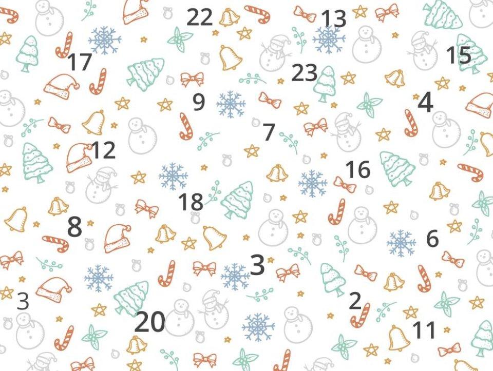 Grafik mit kleinen weihnachtlichen Motiven un den Zahlen von eins bis 24