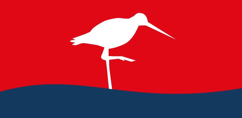 Icon zeigt weißen Austernfischer auf rotem Hintergrund, unterhalb eine blaue Welle