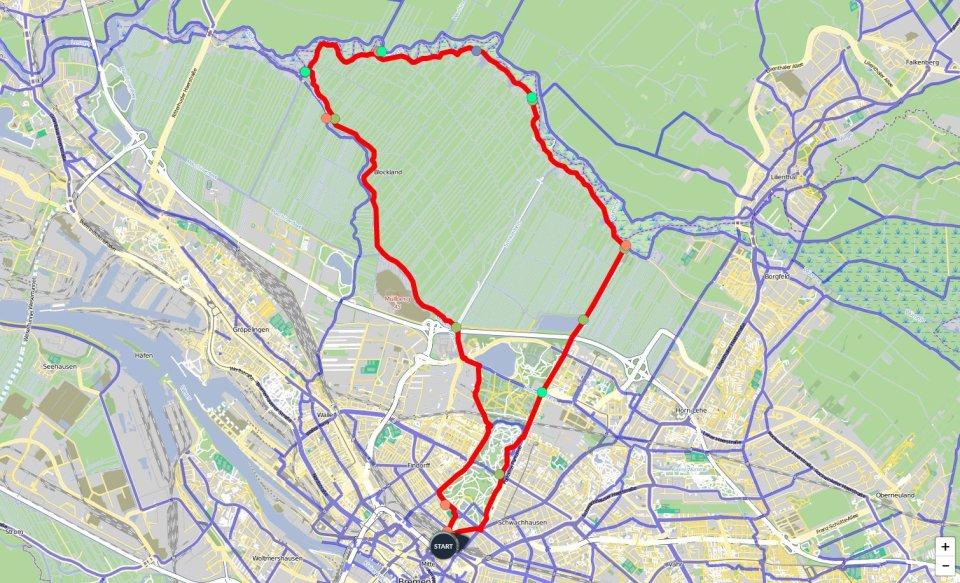 Ein Kartenausschnitt, auf dem die Route der Blockland-Runde eingezeichnet ist