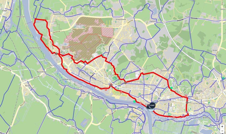 Ein Kartenausschnitt, auf dem die Route der Bremer-Norden-Runde eingezeichnet ist