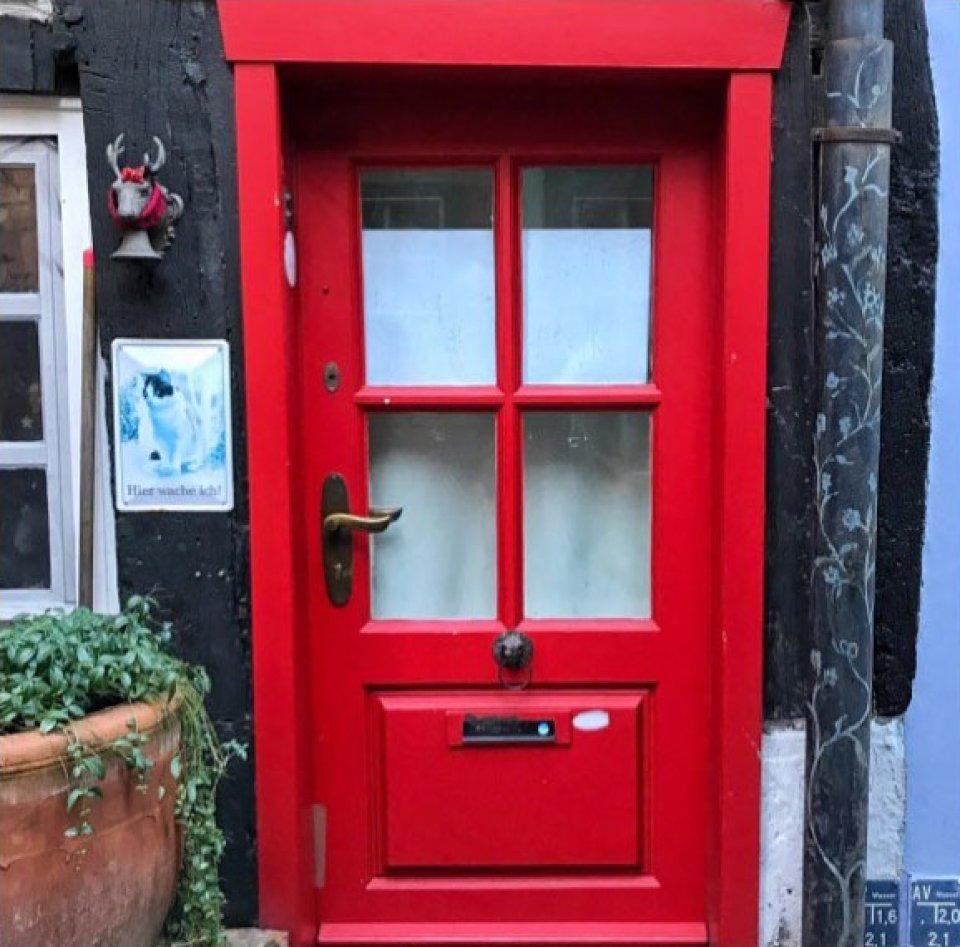 Eine massive, rote Tür mit 4 kleinen Fenstern. Links neben der Tür hängen ein Katzenbild und die Figur eines Elchkopfes, der weihnachtlich geschmückt ist. Darunter steht ein brauner Blumentopf mit einer grünen Pflanze.