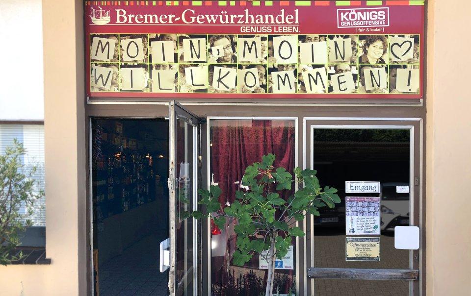 Die Eingangstür des Verkaufsladen in Findorff.