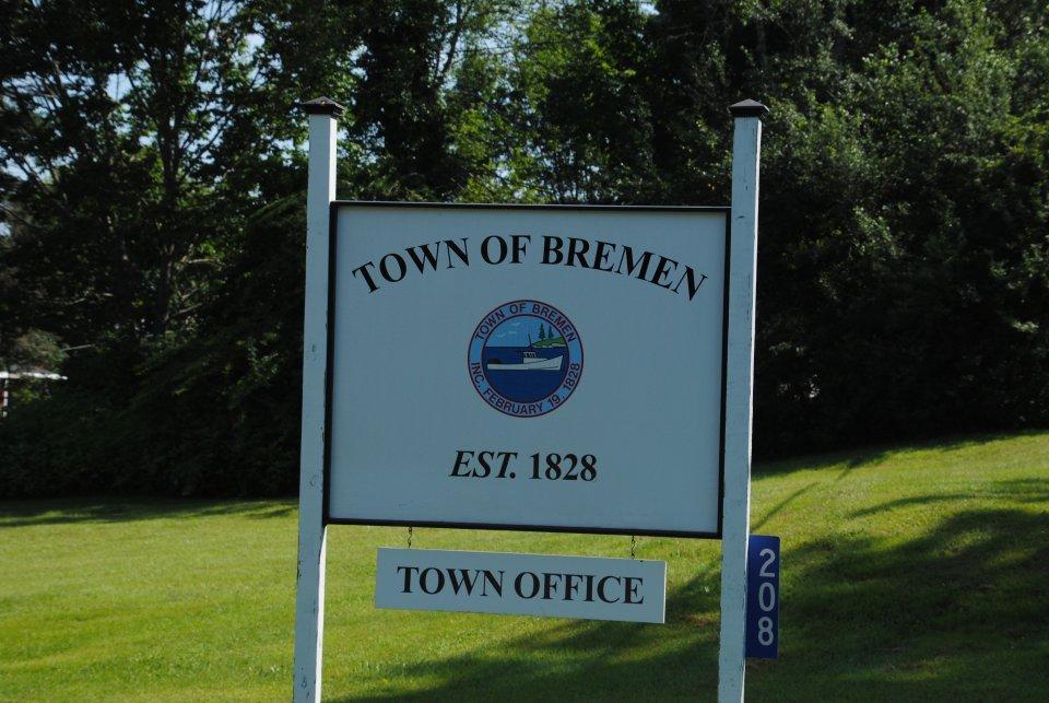 Ortseingangschhild der Stadt Bremen in Maine / USA