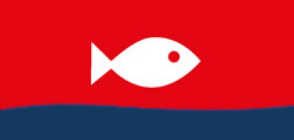 Icon zeigt weißen Fisch auf rotem Hintergrund, unterhalb eine blaue Welle