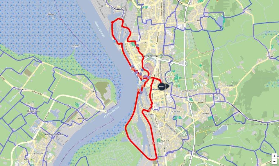 Ein Kartenausschnitt, auf dem die Route der Bremerhaven-Runde eingezeichnet ist