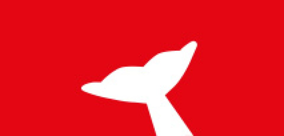 Icon zeigt weiße Walflosse auf rotem Hintergrund