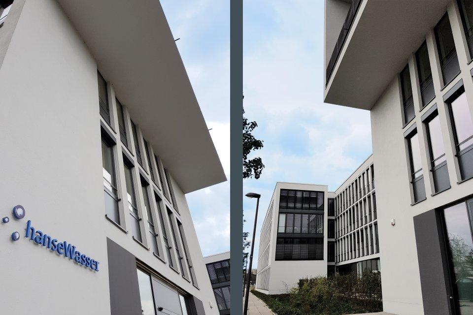 Die seitlichen Perspektiven des hanseWasser-Gebäudes