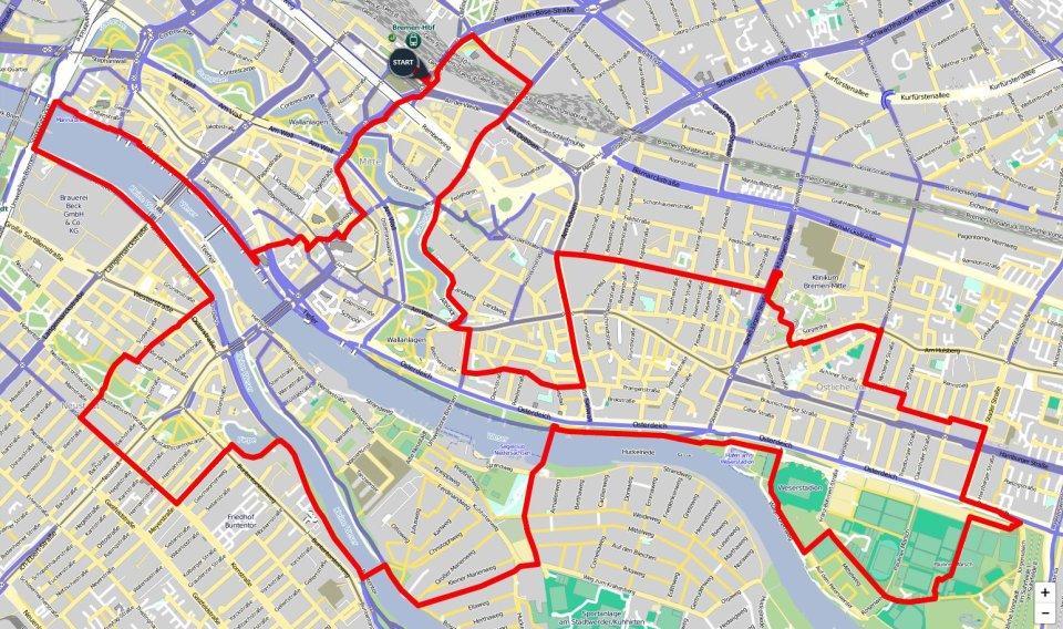 Ein Kartenausschnitt, auf dem die Route der Innenstadt-Runde eingezeichnet ist