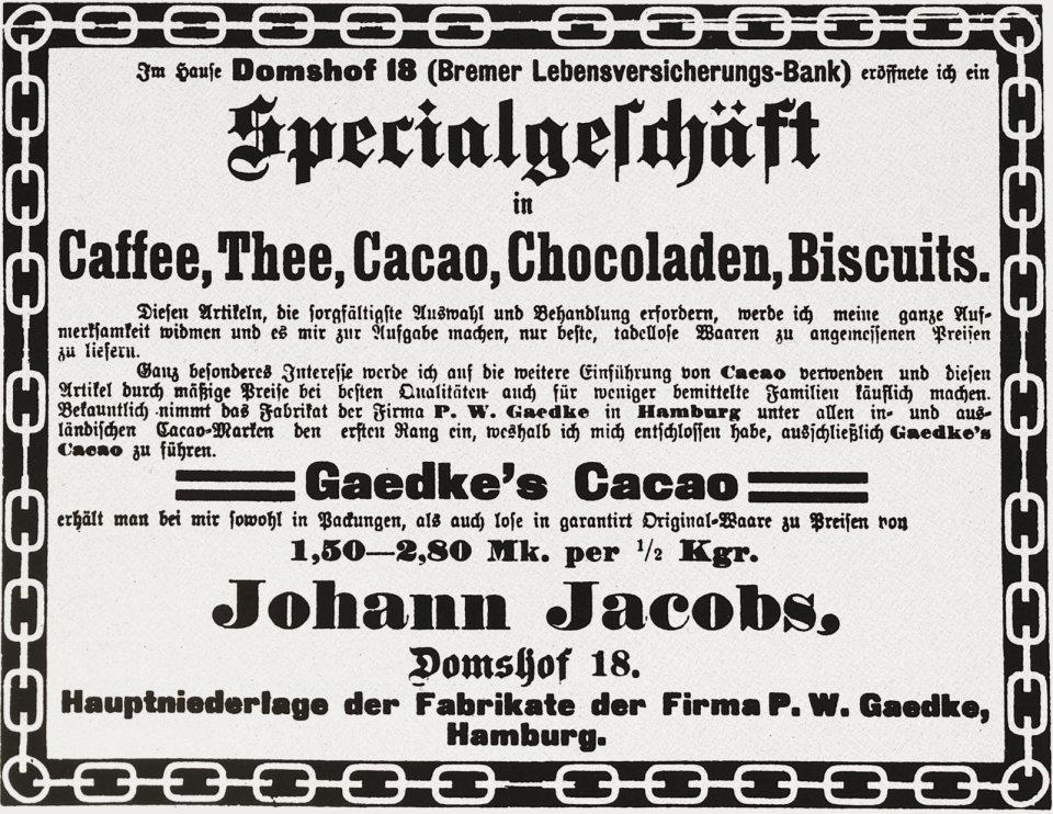 Eine historische Zeitungsanzeige zur Geschäftseröffnung der ersten Jacobs-Filiale
