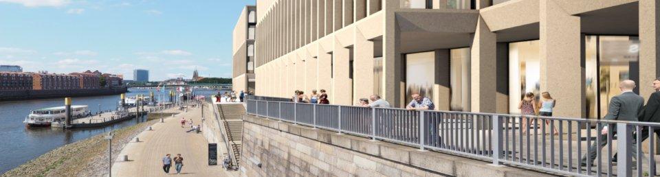 Bürgerinnen und Bürger genießen auf dieser Planzeichnung die Sonne an den neuen Arkaden
