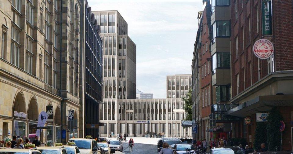 Ansicht des geplanten Gebäudes von der Wachtstraße aus