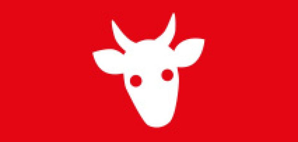 Icon zeigt weiße Kuh auf rotem Hintergrund