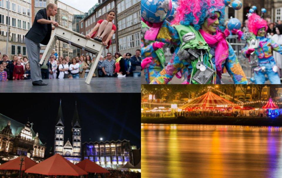Collage: Akrobaten bei La Strada, beleuchtetes Festzelt bei der Breminale, Marktplatz während des Musikfestes, kostümierte Person beim Samba Karneval