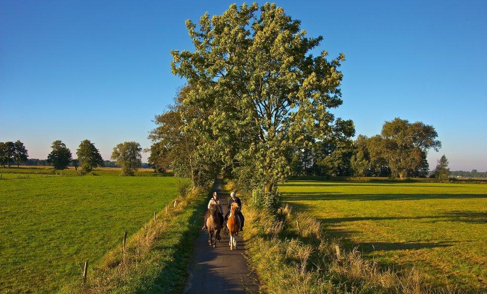 Zwei Reiterinnen in den Oberneulander Wümmewiesen.