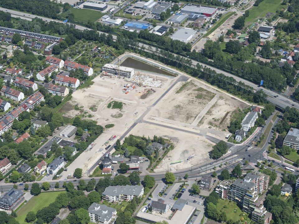 Das Neubaugebiet Mühlenviertel aus der Luft