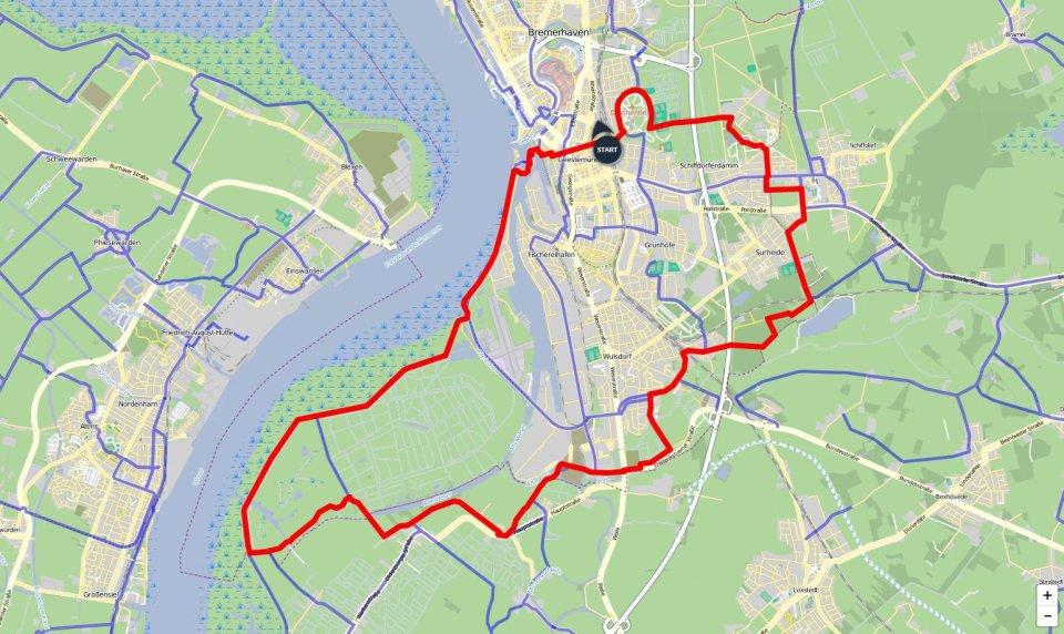 Ein Kartenausschnitt, auf dem die Route der Natur-Runde Bremerhaven eingezeichnet ist