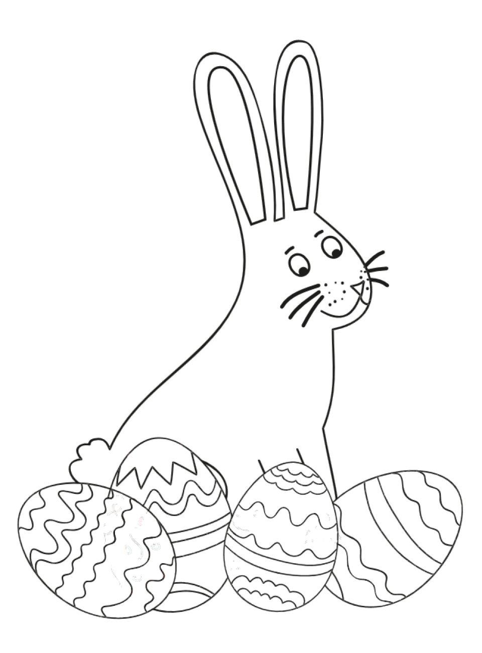 Ein Hase mit Ostereiern, Ausmalbild
