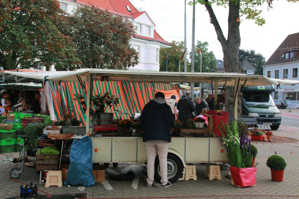 Blumenstand auf dem Wochenmarkt in der Wachmannstraße