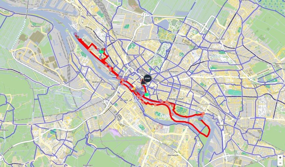 Ein Kartenausschnitt, auf dem die Route der Weser-Runde eingezeichnet ist